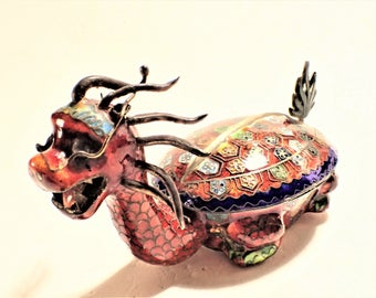 Chinese Cloisonne Dragon Trinket Jewelry Treasure Box
