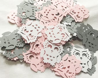 Light Pink, Gray, And White Owl Confetti - Party Table Decoration - 100 Pieces MADE TO ORDER