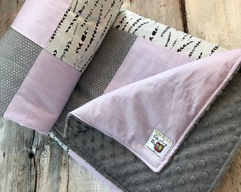 Baby blanket ,feathers, lavender and hearts on grey. Grey minky on the back, Handmade baby quilted blanket, crib blanket