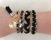 YOU PICK- Heart & Tassel or Black Braided Bracelet or Reversible Weave or Set