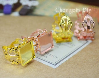 20pcs Antiqued Bronze/Gold/Silver/Rose Gold/ Metal Adjustable Ring with 12mm Square Edge Setting