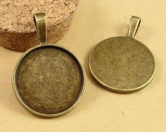 1 inch Round Vintage Pendant Blanks - Blank Bezel Cabochon- 25mm Round Pendant Trays - Bezel Pendant Setting - Glass Cabochon Trays