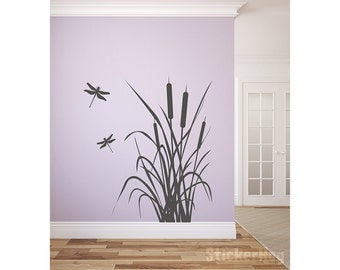 """Dragonfly and Cattails Vinyl Wall Decal Graphics Bedroom Home Decor 42""""x51"""""""