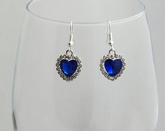 Dangling Alloy Rhinestone Heart Pendant Earrings Saphire Blue, Wedding Jewellery, Statement Jewellery