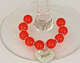 Mum Gift, Mum Wine Glass Charm, Mother's day Gifts, Birthday Keepsake