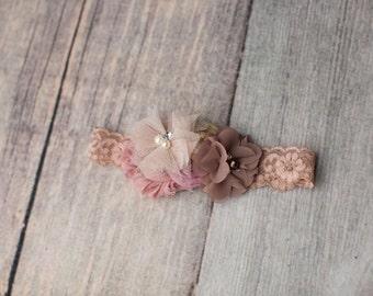 Mauve dysty pink cream kace headband , Eladtic kace chifgon mauve flower headband , Vintage baby  headband