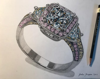 Original fine art engagement ring Drawing women's jewelry