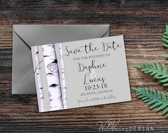 Birch Trees Printable Save the Date, Customized Carved Initials and Heart, Watercolor Digital File
