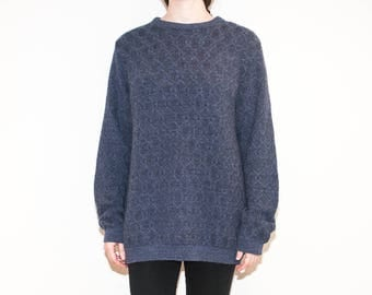 on sale  - 90s speckled blue patterned knit / unisex long sleeve pullover sweater / size L / XL