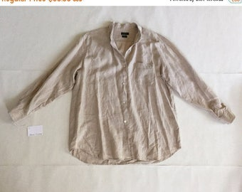40% OFF SALE... 90s J. Crew oversized linen tunic blouse | neutral nude linen shirtdress