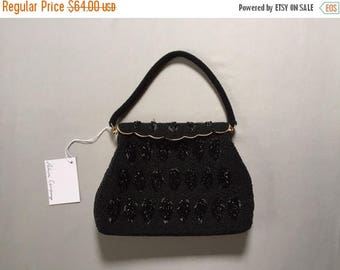 35% OFF SALE... 1940s heavy beaded large handbag | black beaded leaves purse