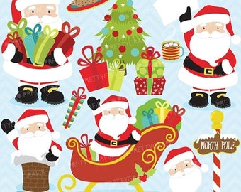80% OFF SALE Christmas clipart commercial use,Santa Claus vector graphics, digital clip art, digital images  - Cl607