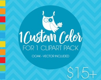Custom color for 1 (one) PACK, custom color for purchased clipart, recolour, Prettygrafik