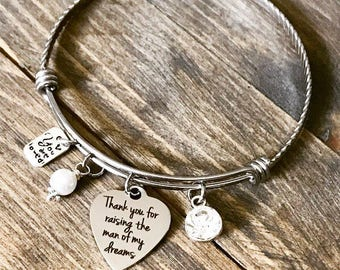 Thank You for Raising the Man of My Dreams -  Rhinestone Heart Charm Bangle Bracelet - Wedding Mother of the Groom Mothers Day Gift
