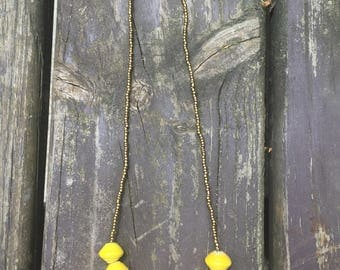 Bright Yellow Paper Bead Necklace