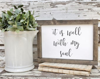 It Is Well With My Soul Farmhouse Sign Wood Framed Hymnal Bible Verse Art Print Farmhouse Decor Scripture Fixer Upper Decor Salvaged Board