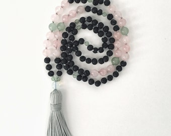 Mala Necklace, Rose Quartz Necklace, Lava Bead Necklace, Aventurine Necklace, Gemstone Jewelry, Moonstone Necklace, Tassel Necklace, Beaded