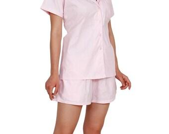 Woman Pajama Set in Soft Pink Cotton, PJ Set Nightdress, Customizable Short Sleeve Cotton Pajama Top and Pajama Shorts, Bridesmaid Pajamas