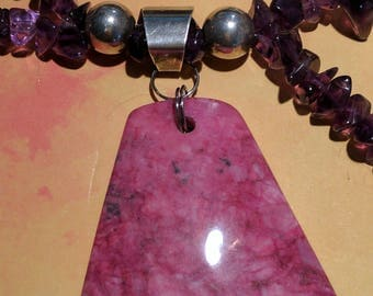 Fuchsia Crazy Lace Agate and Amethyst Necklace