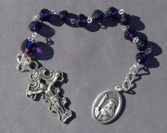 St Rita - 8mm Purple Rose Cut Glass One Decade Rosary Chaplet