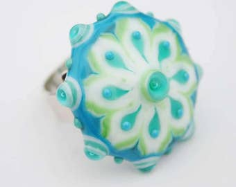 Ring Topper, Mandala Ring, Sterling Silver and Lampwork Glass Ring, Adjustable Ring, Interchangable Ring, Handmade Ring, Glass Ring, Jewelry