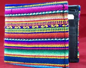 Red manta inca men's handmade billfold collectible textile wallet