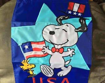 Snoopy garden flag/ Fourth of July Garden Flag/ Peanuts flag