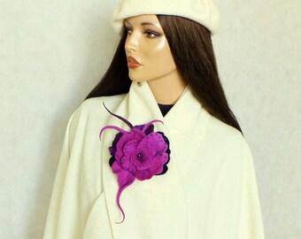 Purple violet brooch felted brooch Fancy flower felt Art flower Purple broach Eco fashion pin unique
