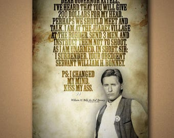 """Young Guns """"Dear Governer Axtell"""" Billy The Kid Quote Poster"""