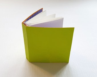 Mini journal, journal, hand bound book, binding, book, mono-print, green, chartreuse, accordion binding
