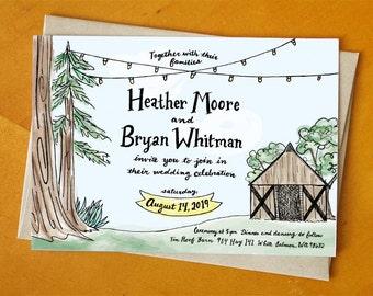 Tin Roof Barn Printed Wedding Invitation Suite / Deposit