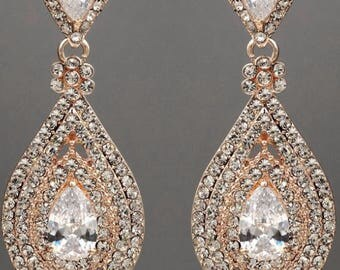 "PAIR Rose Gold Crystal Rhinestone Bridal Drop Chandelier Prom Wedding gauges plugs 2g 0g 00g 7/16"" 1/2"" 6mm 8mm 9mm 11mm 12mm"