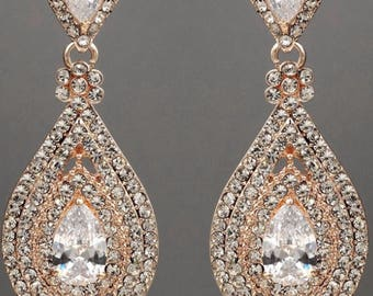 "PAIR Rose Gold Crystal Rhinestone Bridal Drop Chandelier Prom Wedding gauges plugs earrings 2g 0g 00g 7/16"" 1/2"" 6mm 8mm 9mm 11mm 12mm"