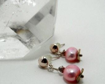 vintage pink freshwater pearl earrings, sterling silver posts