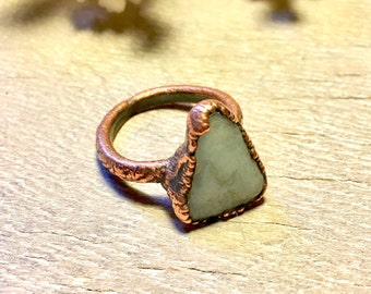 Aquamarine Ring - Raw Copper Ring - Raw Crystal Ring - Gemstone Ring Size 6.5 - Electroformed Ring - Copper Ring - Healing Crystal Jewelry