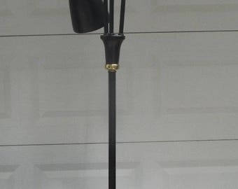 1960s Steel Rod 3 Head FLOOR POLE LAMP Brass/Black Atomic Retro Jetsons Mid Century Eames