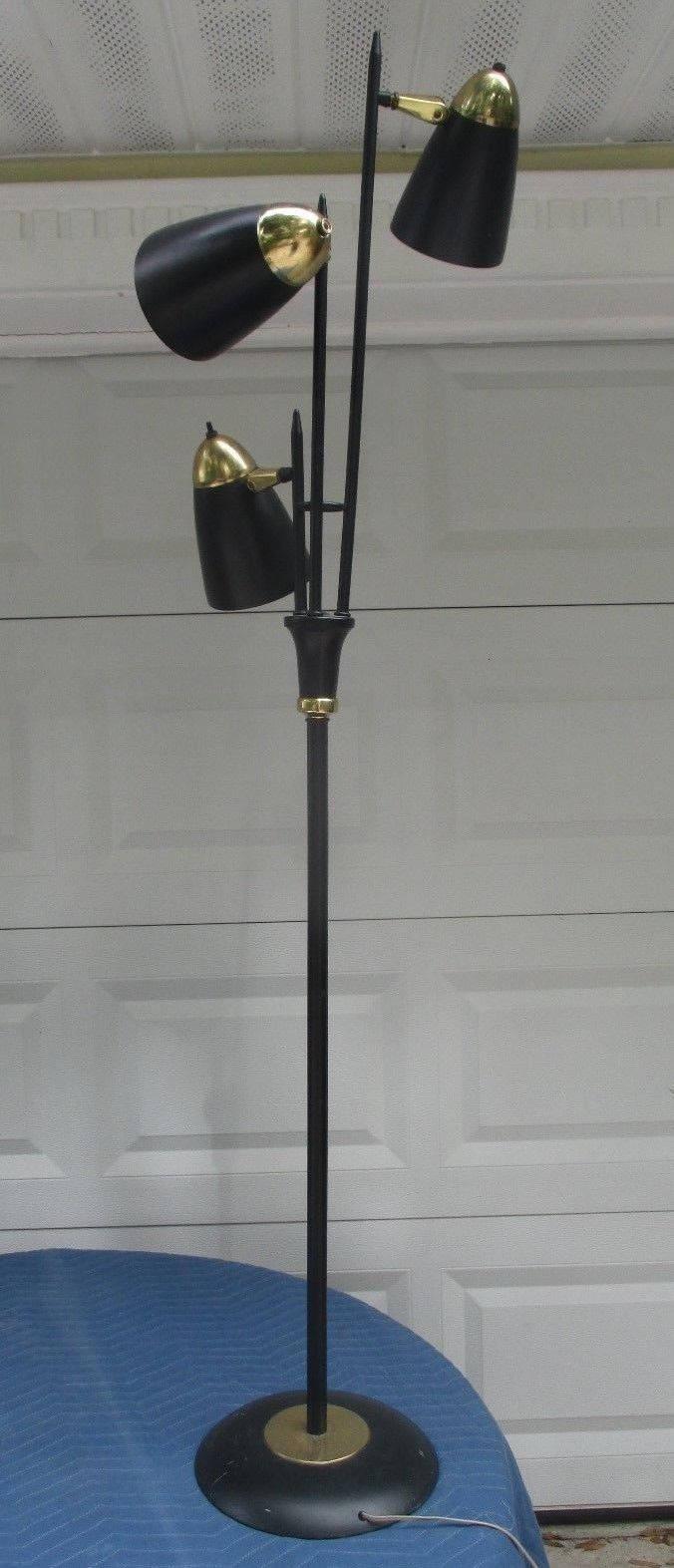 1960s Steel Rod 3 Head FLOOR POLE LAMP Brass/Black Atomic