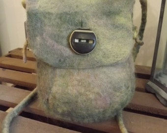 Hand Felted Bag  made with hand dyed wool - ideal for your mobile