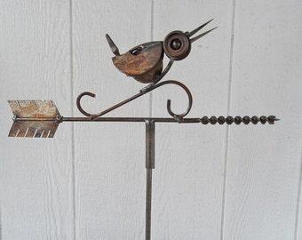 Sweet Little Wren weathervane kinetic welded garden art.