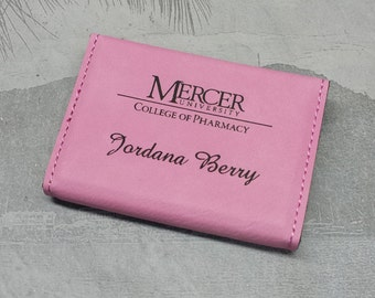 Custom Personalized Engraved Leatherette Business Card Holder, Pink,  Business Card Case, Groomsmen Gift, Bridal Gift, Business Gift