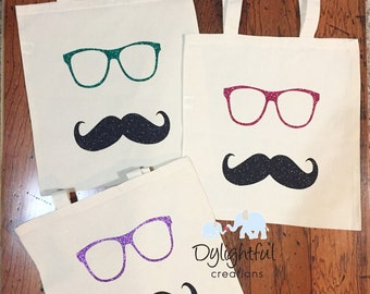 Glitter glasses and mustache canvas tote bag 16x16 market  bag