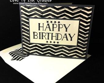 Masculine Birthday Card - Happy Birthday Black/Vanilla/Gray Chevron Stripes - Trendy Simple Contemporary Design