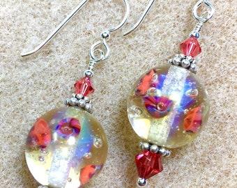 Artisan Lampwork, Swarovski Crystals and Sterling Silver Earrings