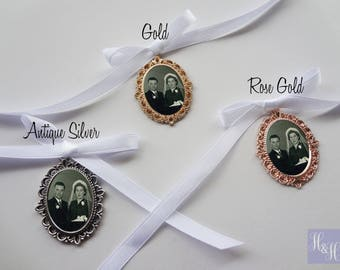Filigree Wedding Bouquet Photo Memory Charm in Antique Silver, Gold or Rose Gold