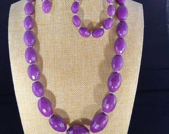Purple agate oval beads jewelry set, beads ranging grom 25/35mm to 15/10mm