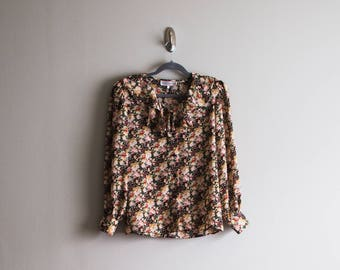 Vintage Ruffled Floral Blouse
