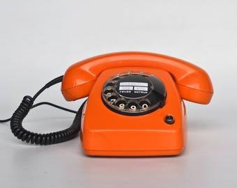 Vintage Siemens Rotary Dial  Telephone / 70's Germany / Retro Orange