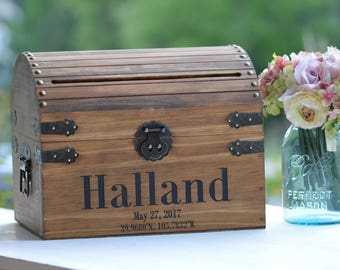 Elegant Barn Wedding Card Box Holder, Custom Coordinates For Wedding, Barn Rustic Wedding Cards Box, Country Wedding Money Box, Wooden Trunk