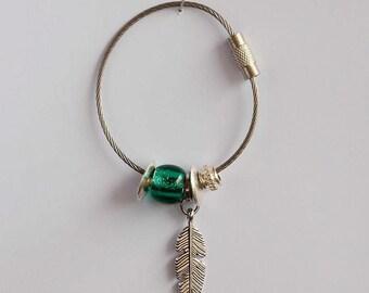 Dark green key ring