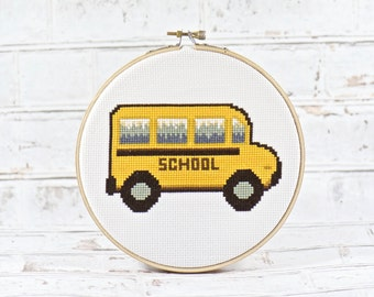 Home Decor. Cross Stitch Pattern. Modern Cross Stitch. PDF. School Bus. Bus Driver. Bus Wall Art. Special Education. Teacher Gift. First Day